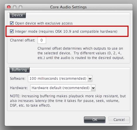 NEW: Integer mode playback (requires OSX 10 9 and compatible hardware)